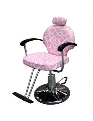 Fotel fryzjerski Carrara 1140 - różowy/biały