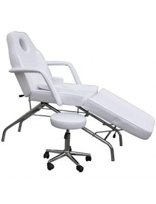 1057 - Fotel kosmetyczny z hokerem biały