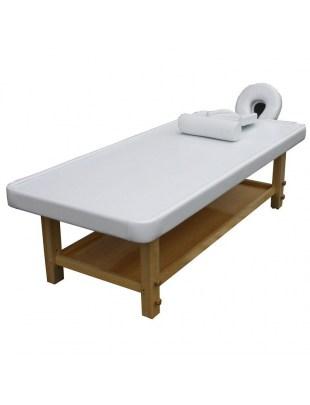 Łóżko do masażu 1449 białe-jasne drewno