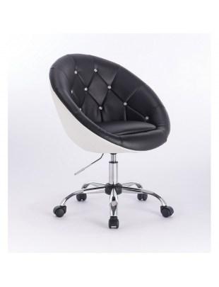 BOL CRISTAL- Fotel fryzjerski czarno biały