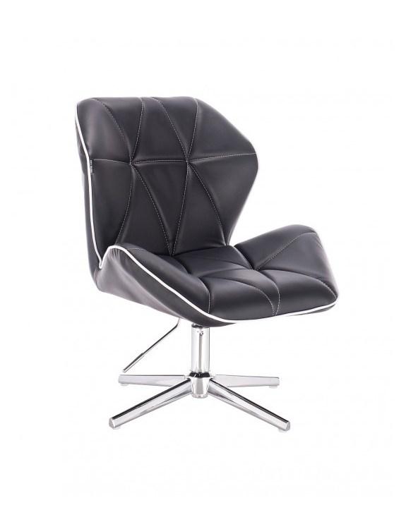 CRONO - Krzesło kosmetyczne czarne krzyżak
