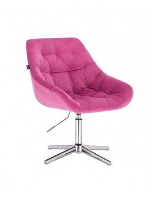 MELVIN - Krzesło kosmetyczne malinowe welur krzyżak