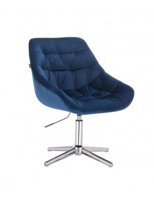 MELVIN - Krzesło kosmetyczne ciemne morze welur krzyżak