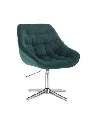 MELVIN - Krzesło kosmetyczne butelkowa zieleń welur krzyżak