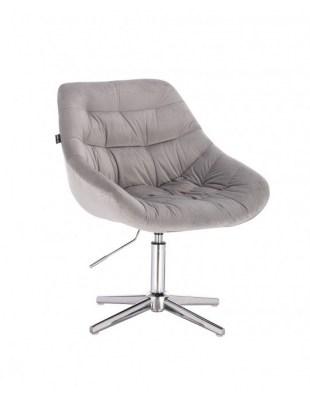 MELVIN - Krzesło kosmetyczne stalowe welur krzyżak