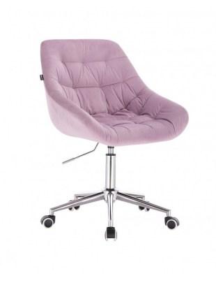 MELVIN - Krzesło kosmetyczne wrzosowe welur kółka