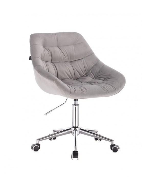 MELVIN - Krzesło kosmetyczne wrzosowe stalowe kółka