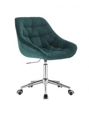 MELVIN - Krzesło kosmetyczne butelkowa zieleń kółka