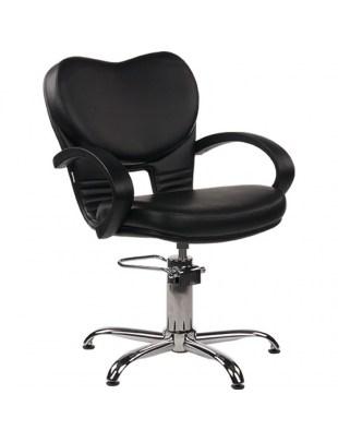 Fotel Fryzjerski Clio - tapicerka czarna, baza pająk - Ayala 48h