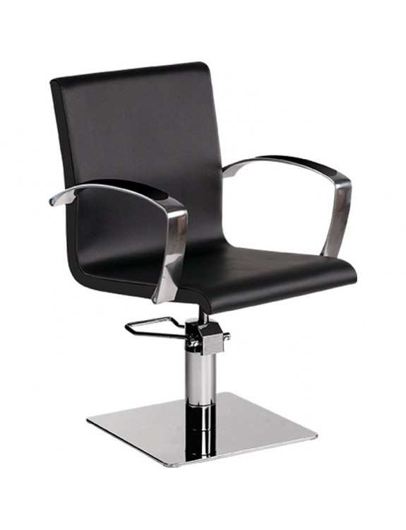 Fotel Fryzjerski Partner - baza kwadrat - tapicerka czarna - Ayala 48h