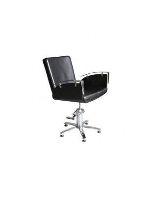 1378 Fotel fryzjerski czarny , chromowe podłokietniki