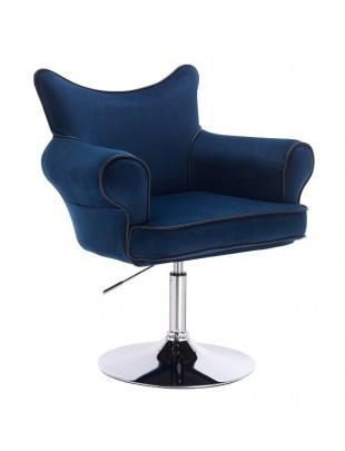 Czester - krzesło kosmetyczne ciemne morze materiał