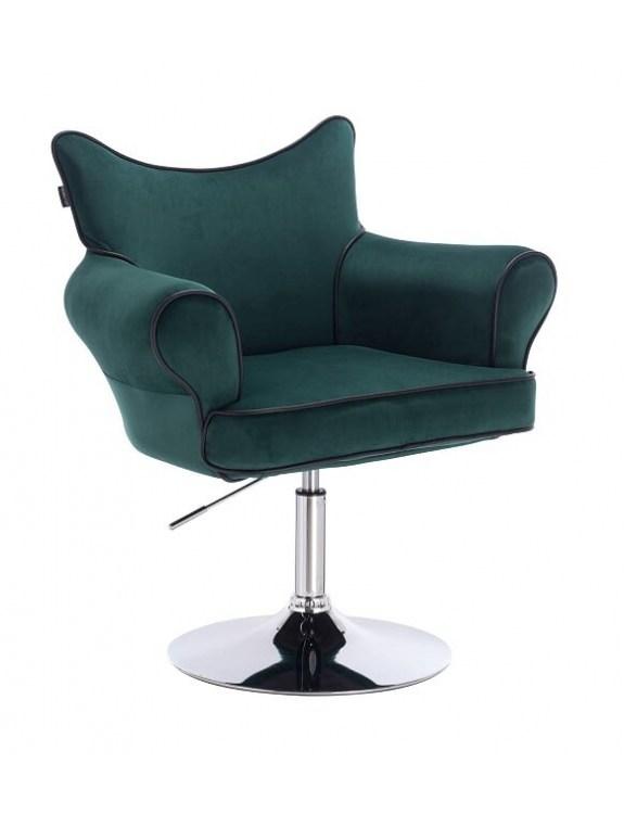 Czester - krzesło kosmetyczne butelkowa zieleń materiał