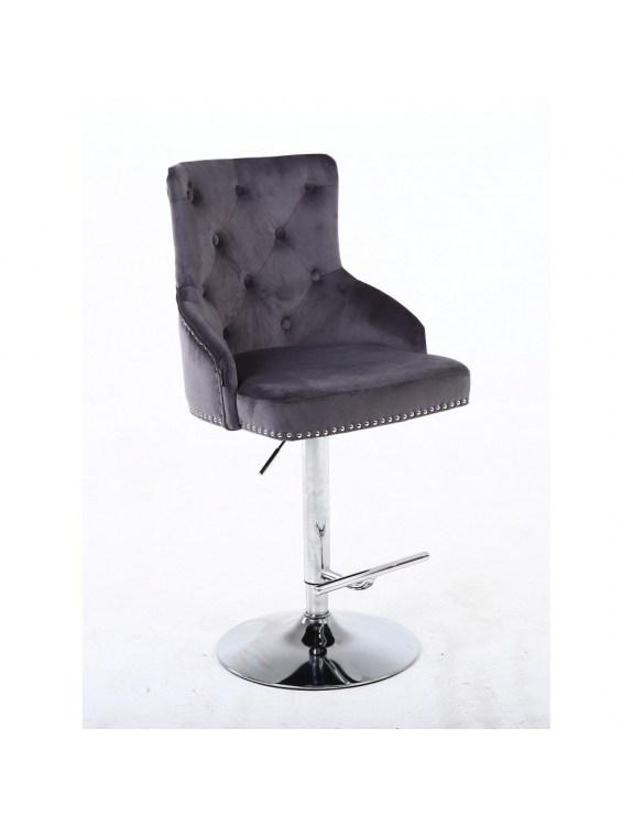 Claris – krzesło kosmetyczne grafit welur na wysokim podnośniku