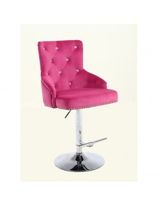 Claris – krzesło kosmetyczne z kryształkami fuksja welur na wysokim podnośniku