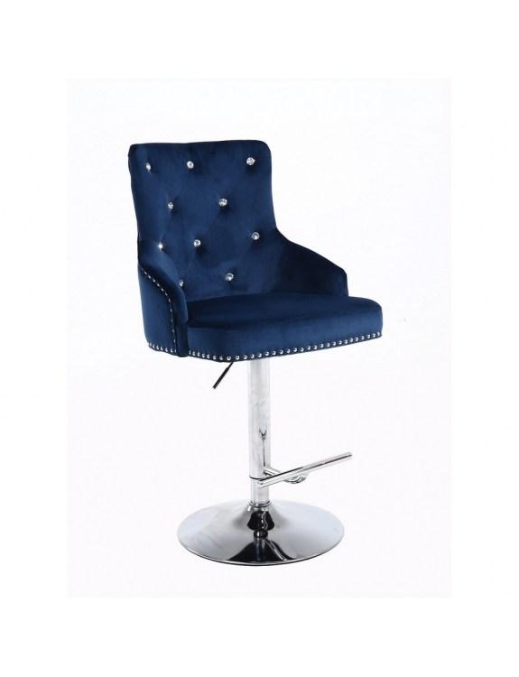 Claris – krzesło kosmetyczne z kryształkami ciemne morze welur na wysokim podnośniku