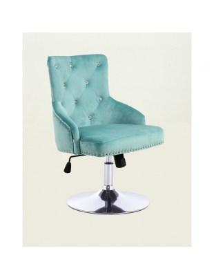 Claris - fotel kosmetyczny z kryształkami lazurowy welur kółka