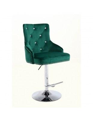 Claris - fotel kosmetyczny butelkowa zieleń welur dysk z kryształkami