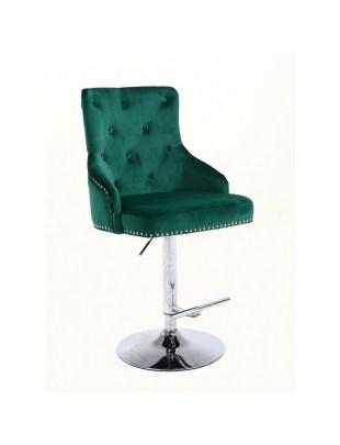 Claris - fotel kosmetyczny na wysokim podnośniku butelkowa zieleń welur