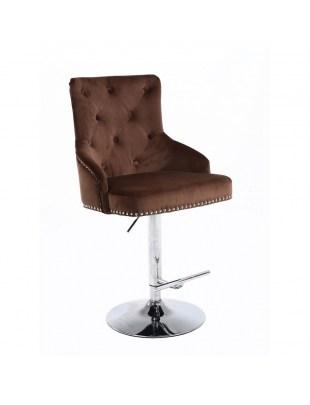Claris - fotel kosmetyczny czekoladowy welur dysk