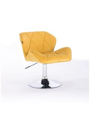 PETYR - Żółte krzesło kosmetyczne z oparciem welur WYBÓR PODSTAW