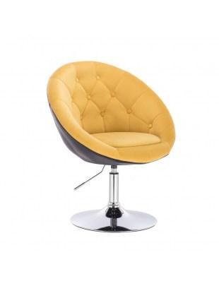 BOL II - krzesło kosmetyczne żółty welur - czarny