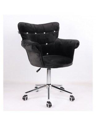 LORA CRISTAL - Krzesło kosmetyczne czarne welurowe z kryształkami
