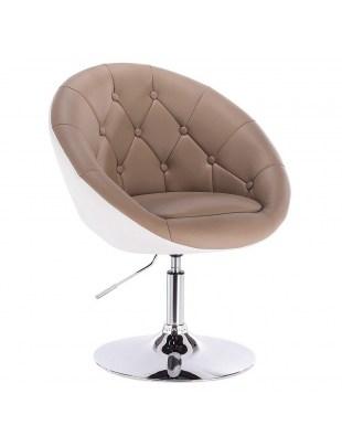 BOL - Fotel fryzjerski KARMELOWO-BIAŁY