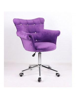 LORA CRISTAL - krzesło kosmetyczne fioletowe welur
