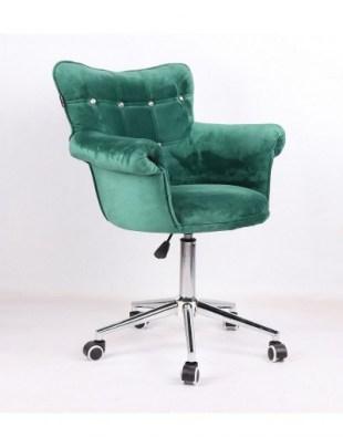 LORA CRISTAL - Krzesło kosmetyczne butelkowa zieleń