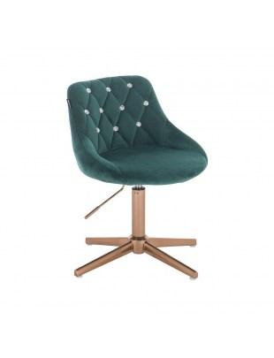 EMILIO CRISTAL - butelkowa zieleń welurowy fotel z kryształkami