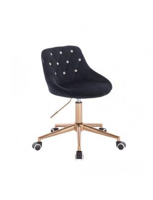 EMILIO CRISTAL - czarny welurowy fotel z kryształkami