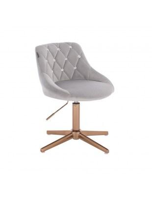 EMILIO CRISTAL - stalowy welurowy fotel z kryształkami