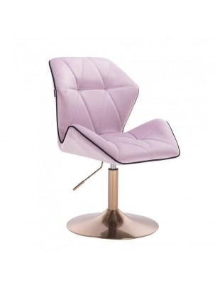 CRONO - Krzesło kosmetyczne wrzosowy welur dysk złoty