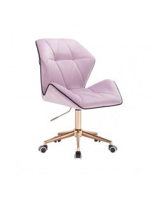 CRONO - Krzesło kosmetyczne wrzosowy welur podstawa na kółkach złota