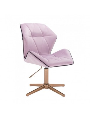CRONO - Krzesło kosmetyczne wrzosowy welur podstawa cross złota