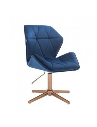 CRONO - Krzesło kosmetyczne ciemne morze welur podstawa cross złota