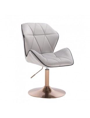 CRONO - Krzesło kosmetyczne stalowy welur podstawa okrąg złota