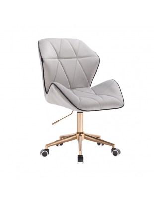 CRONO - Krzesło kosmetyczne stalowy welur podstawa na kółkach złota