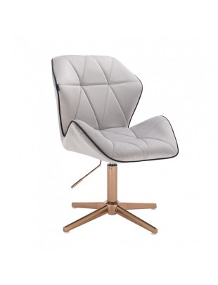 CRONO - Krzesło kosmetyczne stalowy welur podstawa cross złota
