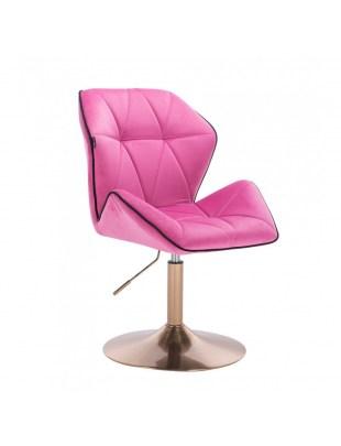 CRONO - Krzesło kosmetyczne malinowy welur podstawa okrąg złota