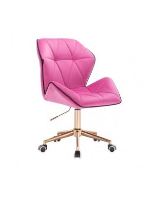 CRONO - Krzesło kosmetyczne malinowy welur podstawa na kółkach złota