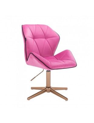 CRONO - Krzesło kosmetyczne malinowy welur podstawa cross złota