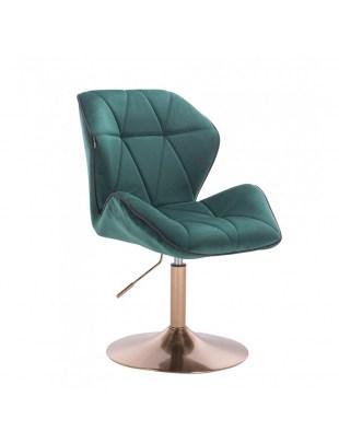 CRONO - Krzesło kosmetyczne butelkowa zieleń welur podstawa okrąg złota