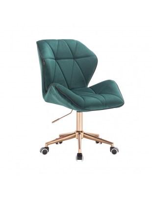 CRONO - Krzesło kosmetyczne butelkowa zieleń welur podstawa na kółkach złota
