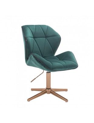 CRONO - Krzesło kosmetyczne butelkowa zieleń welur podstawa cross złota