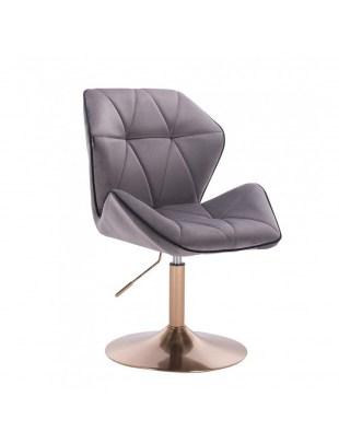 CRONO - Krzesło kosmetyczne grafit welur podstawa okrągła złota