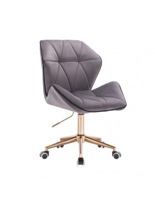 CRONO - Krzesło kosmetyczne grafit welur podstawa na kółkach złota