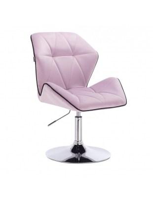 CRONO - Krzesło kosmetyczne wrzos welur podstawa okrąg chrom