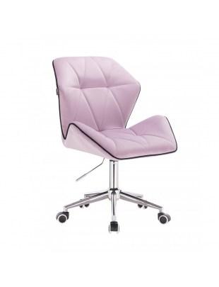 CRONO - Krzesło kosmetyczne wrzos welur podstawa na kółkach chrom